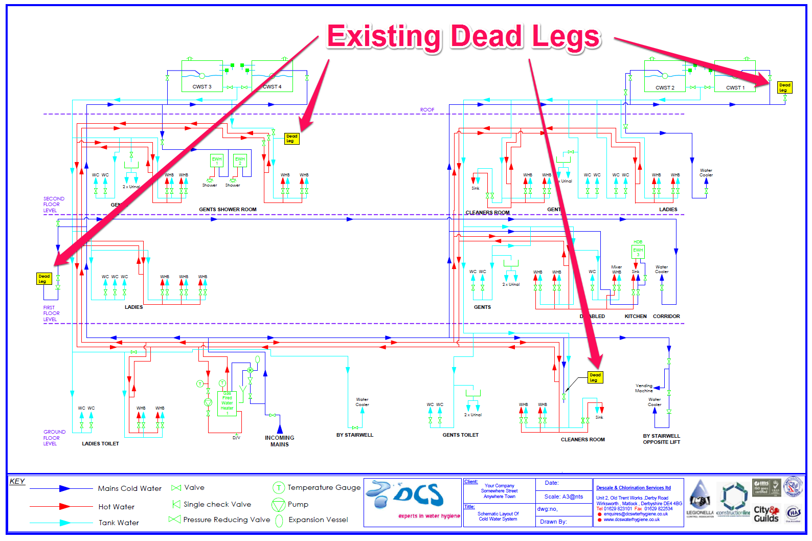 This schematic drawing shows a number of existing Dead Legs in a water system (marked in yellow boxes). Click To Enlarge